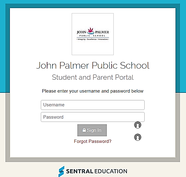 Image of login screen for parent portal.